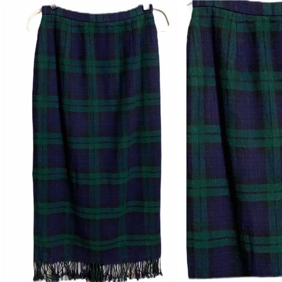 Vintage Briggs NY Navy & Green Plaid Skirt
